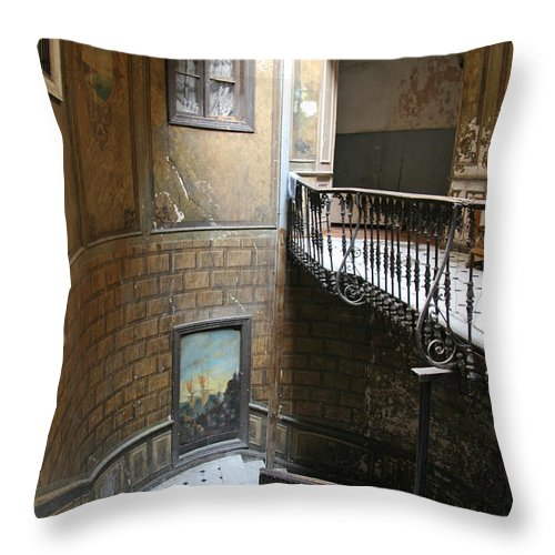 Stairs Throw Pillow featuring the photograph Artistic Staircase In Tbilisi by Lali Kacharava