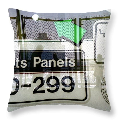 New York City Throw Pillow featuring the photograph Artists Panels by Rosie McCobb