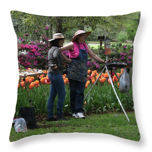 People Throw Pillow featuring the photograph Artists Posing For Papparazzi by Suzanne Gaff