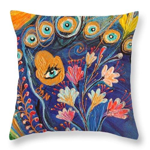 Evil Eye Throw Pillow featuring the painting Artwork Fragment 79 by Elena Kotliarker