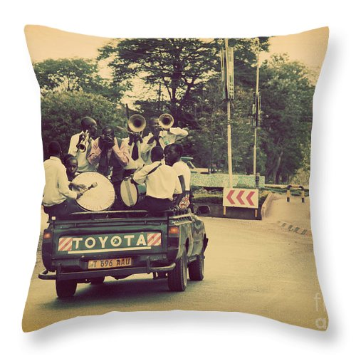 Tanzania Throw Pillow featuring the photograph Arusha. Tanzania. Africa. A Group Of Young Men Celebrating Their Graduation by Michal Bednarek