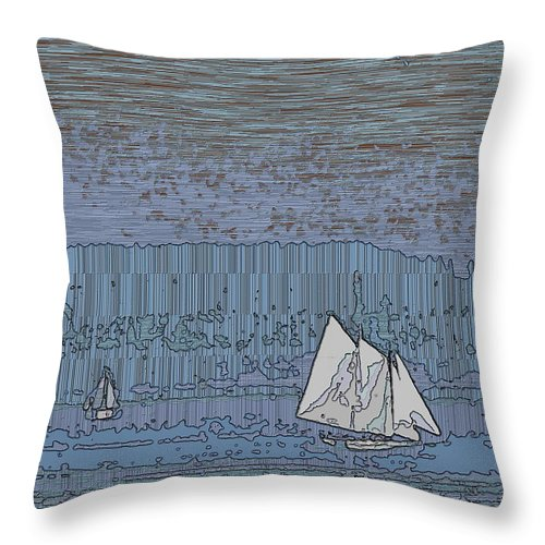 Sail Throw Pillow featuring the digital art As Dusk Sets Over The Sound by Tim Allen