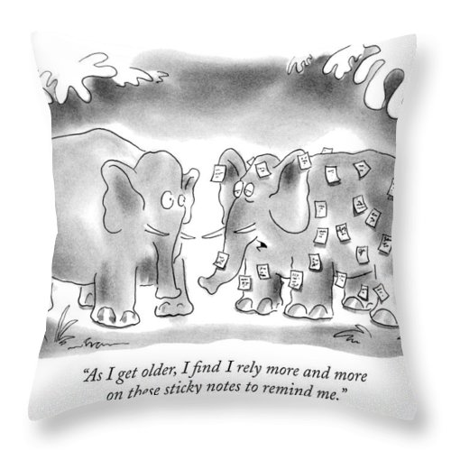 Animals Throw Pillow featuring the drawing As I Get Older by Arnie Levin