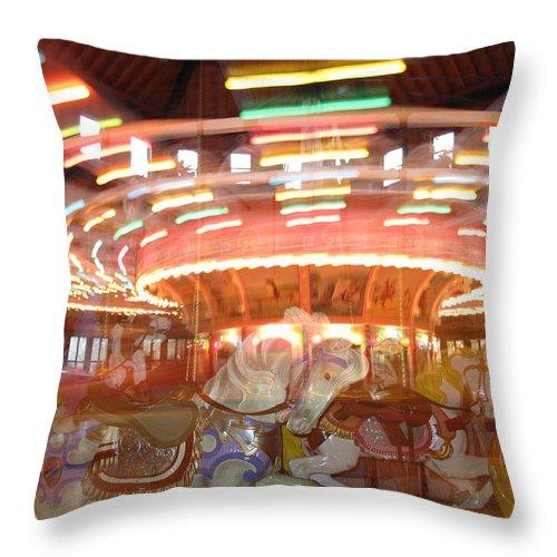 Carousel Throw Pillow featuring the photograph As In A Dream by Barbara McDevitt