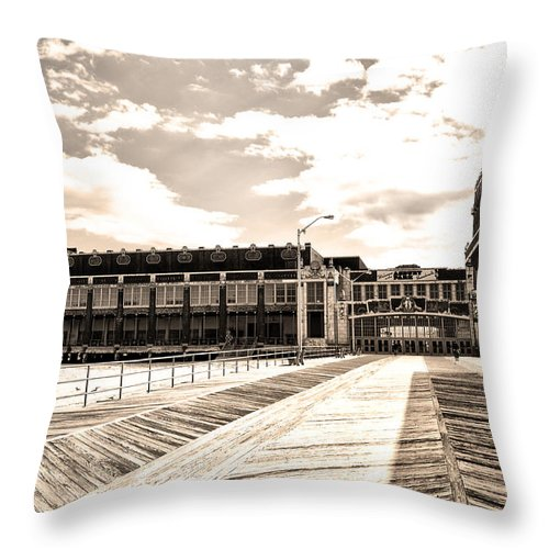 Asbury Throw Pillow featuring the photograph Asbury Park Boardwalk And Convention Center by Bill Cannon