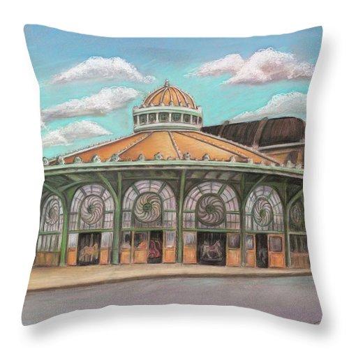 Carousel House Throw Pillow featuring the painting Asbury Park Carousel House by Melinda Saminski