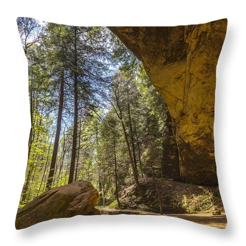 Akron Throw Pillow featuring the photograph Ash Cave by Jack R Perry