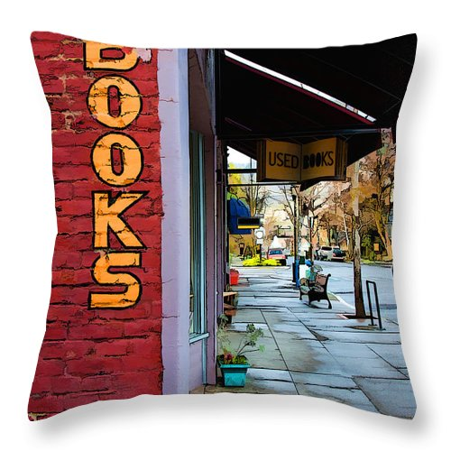 Dan Sabin Throw Pillow featuring the photograph Ashland Bookstore by Dan Sabin