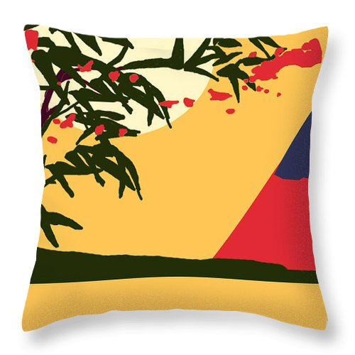 Landscape Throw Pillow featuring the digital art Asia by Art by Kar