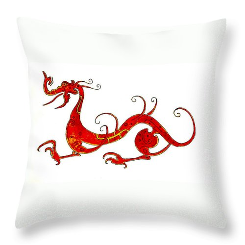 Asia Throw Pillow featuring the painting Asian Dragon by Michael Vigliotti