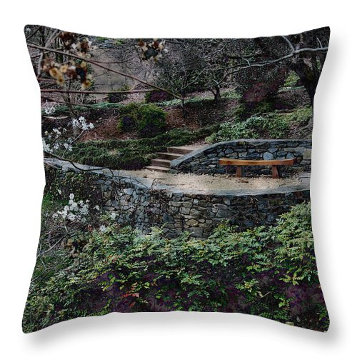 Cherry Blossoms Throw Pillow featuring the photograph Asian Garden by Carolyn Stagger Cokley