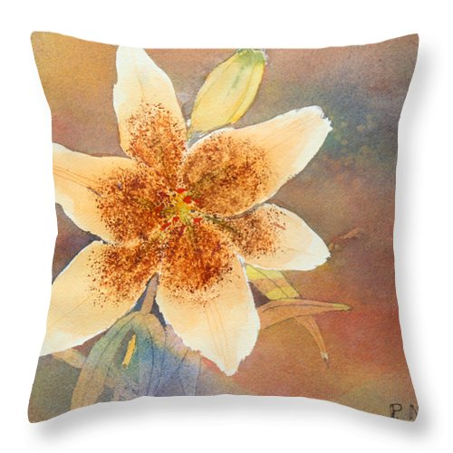 Lily Throw Pillow featuring the painting Asiatic Lily by Patricia Novack
