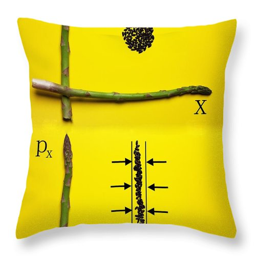 Asparagus Throw Pillow featuring the photograph Asparagus And Black Rice Depicting Heisenberg Uncertainty Food Physics by Paul Ge