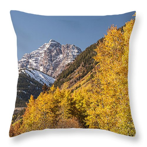 Photography Throw Pillow featuring the photograph Aspen And Mountains 4 by Lee Kirchhevel