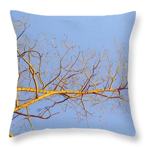 Aspen Painting Throw Pillow featuring the painting Aspen In The Autumn Sun by Elaine Booth-Kallweit