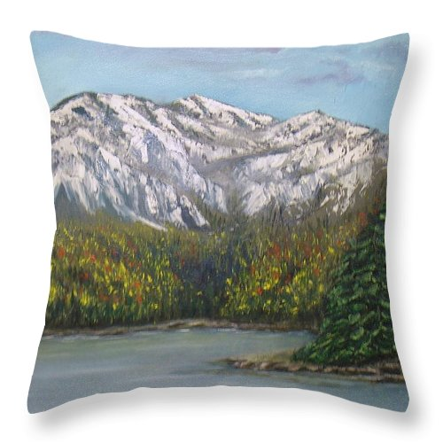 Landscape Throw Pillow featuring the painting Aspen Lake by J L Zarek