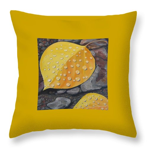 Aspen Throw Pillow featuring the painting Aspen Rain by Hunter Jay