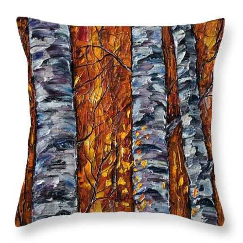 Aspen Tree Throw Pillow featuring the painting White Trees Original Oil Painting by OLena Art Brand