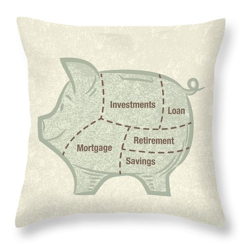 Pig Throw Pillow featuring the digital art Asset Allocation Piggy Bank by Diane Labombarbe
