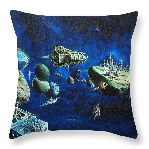 Fantasy Throw Pillow featuring the painting Asteroid City by Murphy Elliott
