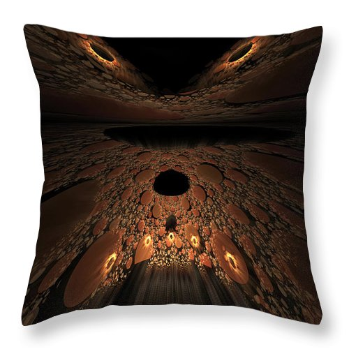Fractal Throw Pillow featuring the digital art Asteroid Rendezvous by GJ Blackman
