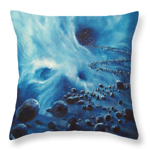 Si-fi Throw Pillow featuring the painting Asteroid River by Murphy Elliott