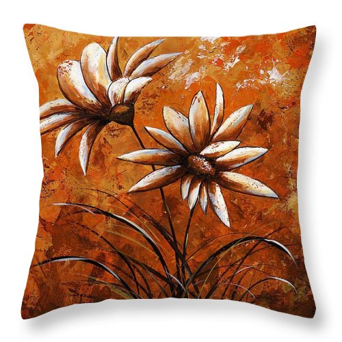 Art Throw Pillow featuring the painting Asters 007 by Voros Edit