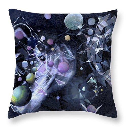 Geometric Abstract Throw Pillow featuring the digital art Astro-fantasia by Warren Furman