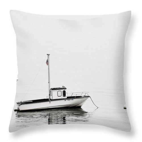 Boat Throw Pillow featuring the photograph At Anchor Bar Harbor Maine Black And White Square by Carol Leigh