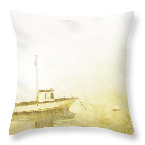Boat Throw Pillow featuring the photograph At Anchor Bar Harbor Maine by Carol Leigh