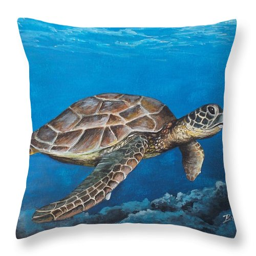 Turtle Throw Pillow featuring the painting At Home by Brad Hook