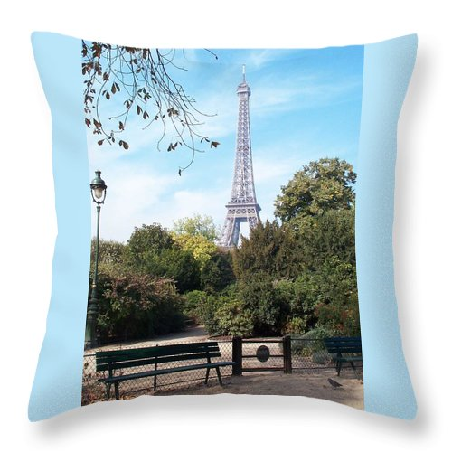 Eiffel Tower Throw Pillow featuring the photograph At Last by Barbara McDevitt