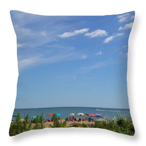 Summer Throw Pillow featuring the photograph At The Beach 2 by Ellen Paull