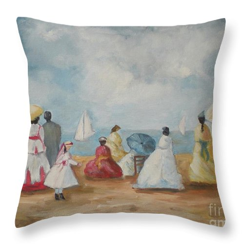 Impressionism Throw Pillow featuring the painting At The Beach by Graciela Castro