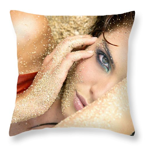 Bathing Suit Throw Pillow featuring the photograph At The Beach by Kicka Witte