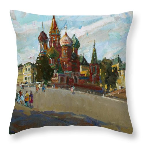 Temple Throw Pillow featuring the painting At The Cathedral Of Vasily The Blessed by Juliya Zhukova