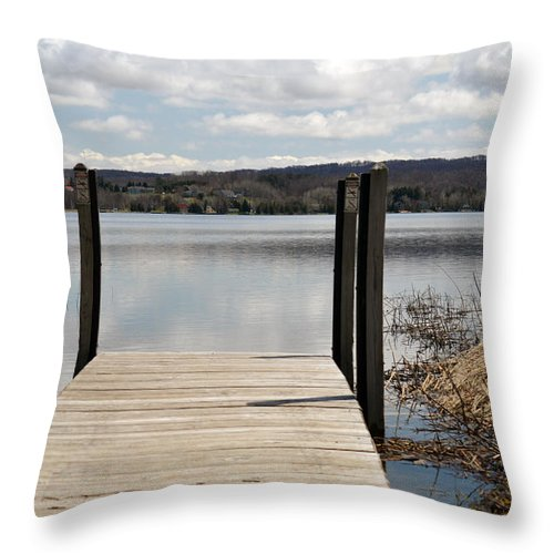 Lake Throw Pillow featuring the photograph At The Dock by Linda Kerkau
