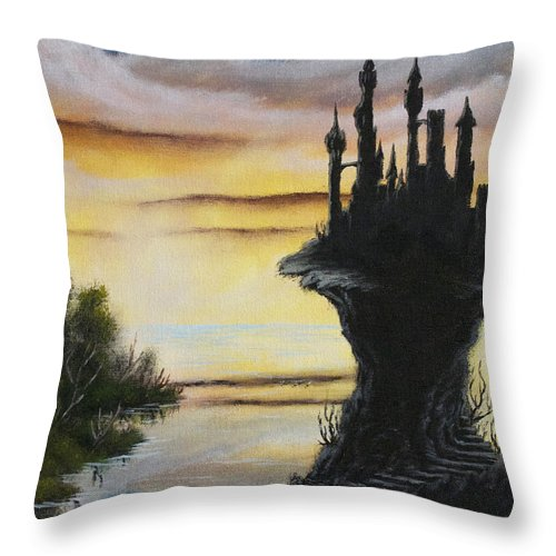 Castle Throw Pillow featuring the painting At The Edge Of Eternity by Troy Wilfong