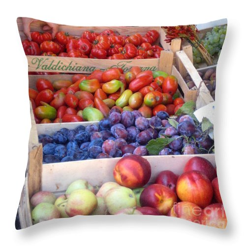 Travel Photography By Frederick Luff Throw Pillow featuring the photograph Fruit Stand Near St. Marks by Europe Travel Gallery