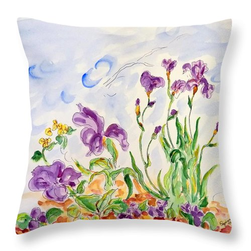Throw Pillow featuring the painting At The Garden II by Nicolas Segoviano