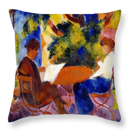 At The Garden Table Throw Pillow featuring the painting At The Garden Table by August Macke