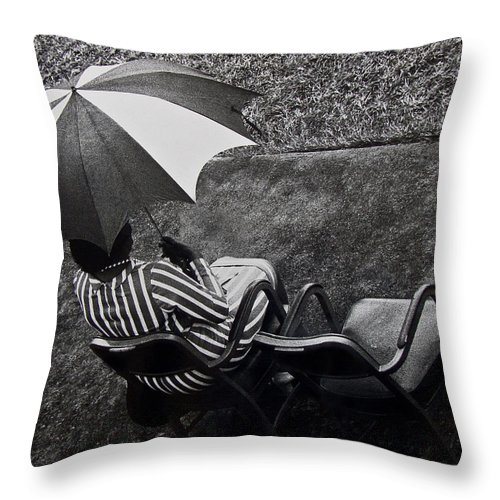 Black And White Throw Pillow featuring the photograph At The Parade by Guillermo Rodriguez