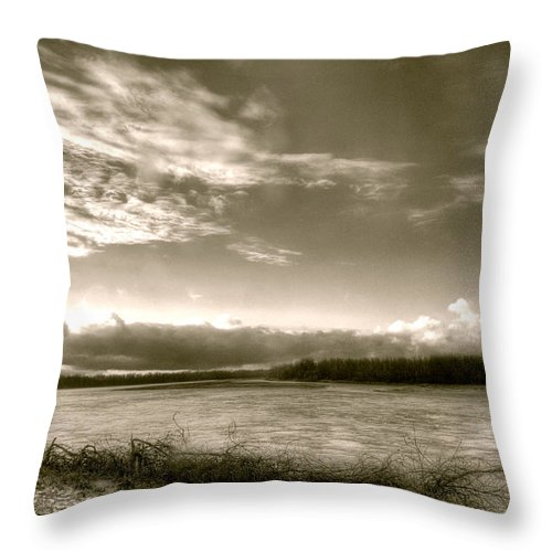 At The Pinckney Bend Throw Pillow featuring the digital art At The Pinckney Bend by William Fields