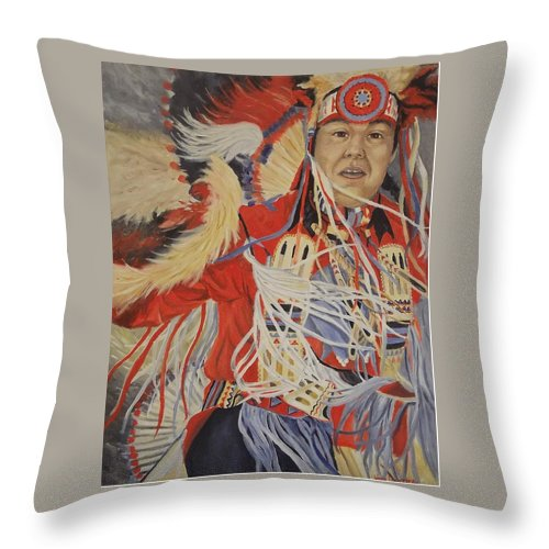 Indian Throw Pillow featuring the painting At the Powwow by Wanda Dansereau