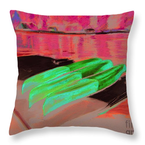 Kayaks Throw Pillow featuring the painting At The Ready by Synnove Pettersen