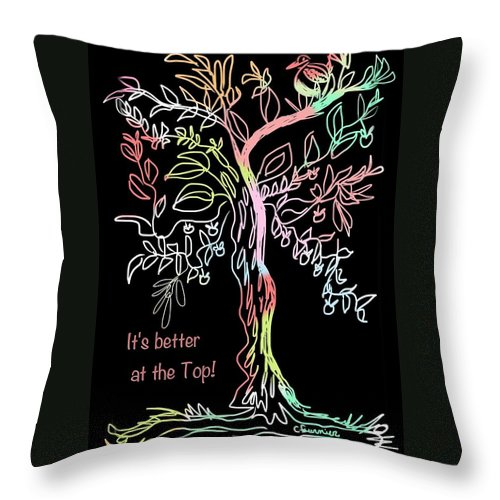 Greeting Card Throw Pillow featuring the painting At The Top by Christine Fournier