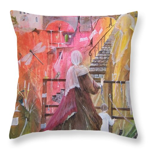 Ladies Throw Pillow featuring the painting At The Top Of The Stairs by Jackie Mueller-Jones