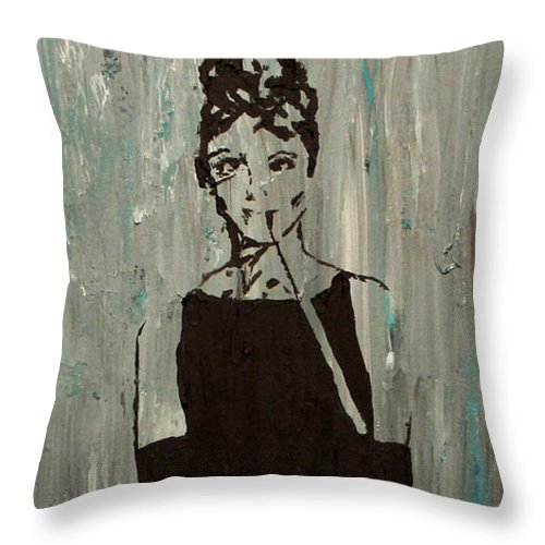 Portrait Throw Pillow featuring the painting At Tiffany's Again by Amanda Morrison