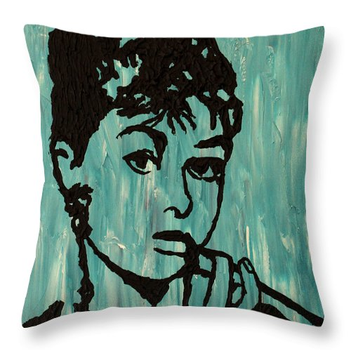 Tiffany Throw Pillow featuring the painting At Tiffany's by Amanda Morrison