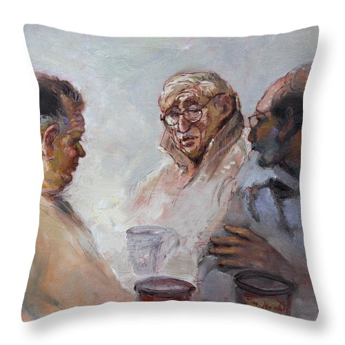 At Tim Hortons Throw Pillow featuring the painting At Tim Hortons by Ylli Haruni